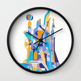 City of th Clowns - blue Wall Clock