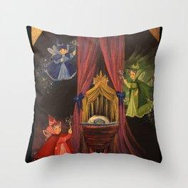 Three Good Fairies Throw Pillow
