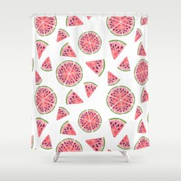 Modern pink green watercolor hand painted watermelon pattern Shower Curtain