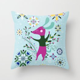 Happy Dog Card Throw Pillow