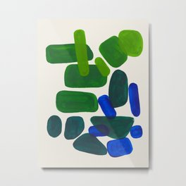 Minimalist Modern Mid Century Colorful Abstract Shapes Phthalo Blue Lime Green Gradient Overlapping Metal Print