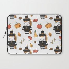 cartoon thanksgiving pattern with pilgrim unicorns, pumpkins, apples, pears, leaves and acorns Laptop Sleeve