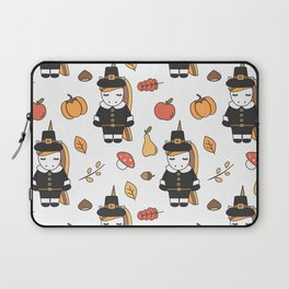 cartoon thanksgiving pattern with pilgrim unicorns, pumpkins, apples, pears, leaves and acorns Laptop Sleeve