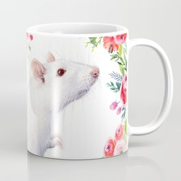 White Rat with Flowers Watercolor Floral Pattern Animal Coffee Mug