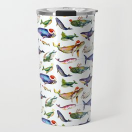 Whales on Holiday by dotsofpaint - White Travel Mug
