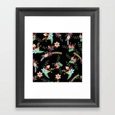 Floral pattern black Framed Art Print