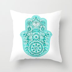 Turquoise Watercolor Hamsa Hand Throw Pillow