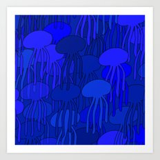 Jellyfish Blue Art Print