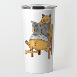 Cat Reading Bibliophile Bookworm Book Collector Travel Mug