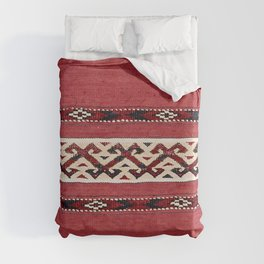 Triangle Stripe Kilim 19th Century Authentic Colorful Red Black White Vintage Patterns Duvet Cover