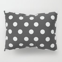 Dark Slate Grey Thalertupfen White Pōlka Large Round Dots Pattern Pillow Sham
