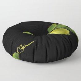 Lemon on Black DP150415a Floor Pillow