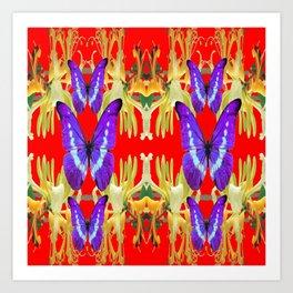 ABSTRACT MODERN PURPLE BUTTERFLIES RED PATTERNS Art Print