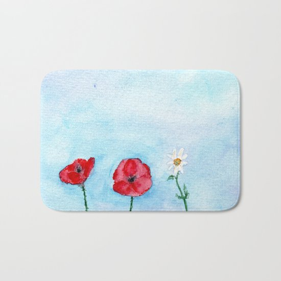 Two poppies and a daisy    watercolor Bath Mat