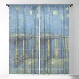 Starry Night Over the Rhone Sheer Curtain