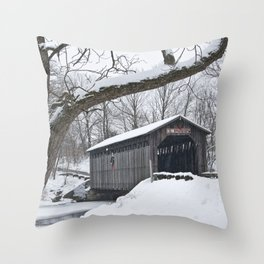 Fallasburg Covered Bridge in Winter Throw Pillow