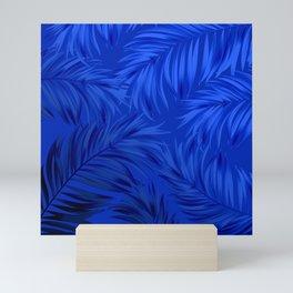 Palm Tree Fronds Brilliant Blue on Blue Hawaii Tropical Décor Mini Art Print
