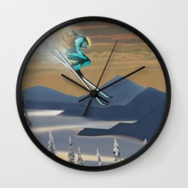 Ski Silver Star Wall Clock