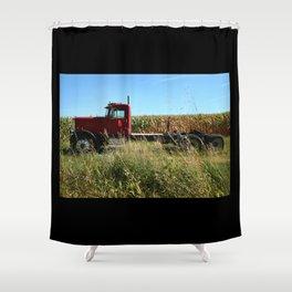 Red Truck in a Corn Field Shower Curtain