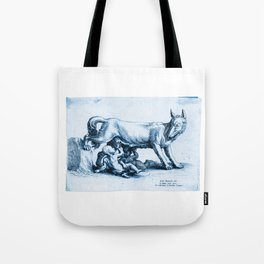 Roman wolf with Romulus and Remus, according to Giulio Romana Tote Bag