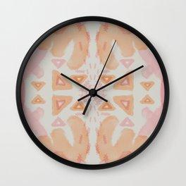 Pink Orange Tribal Pattern 3 Wall Clock