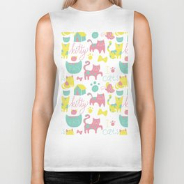 Abstract lime green pink cute cats pattern modern typography Biker Tank