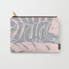 Minimal tropical leaves pink pattern Carry-All Pouch