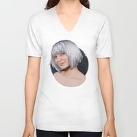sia V-neck T-shirts featuring Sia  by Will Costa