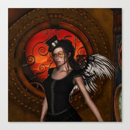 Wonderful steampunk lady with wings and hat Canvas Print