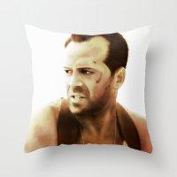 die hard Throw Pillows featuring Die Hard by Alexia Rose