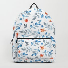Hand painted watercolor orange pastel blue floral Backpack