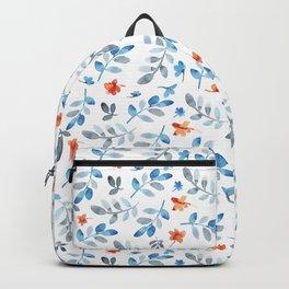 Hand painted watercolor orange pastel blue floral Backpack