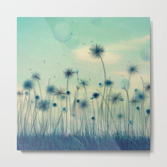 Whimsical Indigo Dandelion Flower Garden Metal Print
