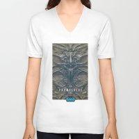 prometheus V-neck T-shirts featuring Prometheus - A film poster by Dukesman