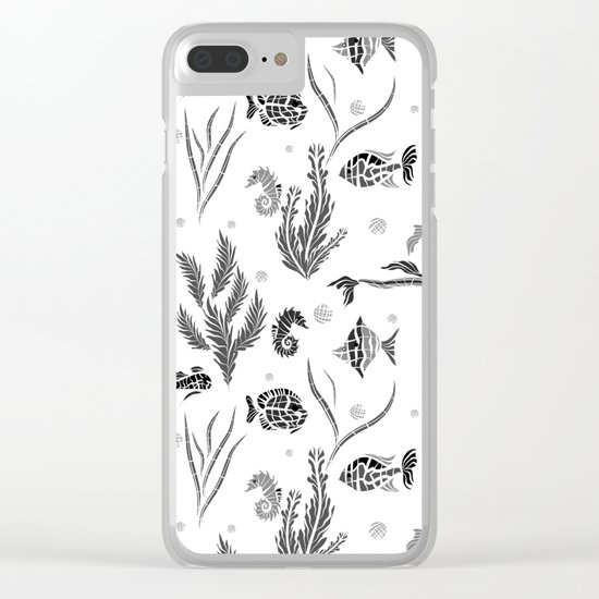 Black and white pattern. Fish . Clear iPhone Case