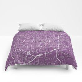 Greensboro Map, USA - Purple Comforters