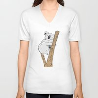 koala V-neck T-shirts featuring Koala by Madmi