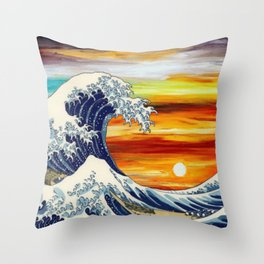 The Great Wave, Sunrise Throw Pillow