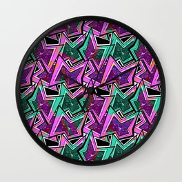 Abstract neon pattern.3 Wall Clock