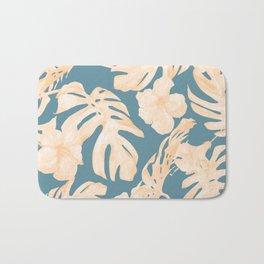 Island Vacay Hibiscus Palm Leaf Coral Teal Blue Bath Mat