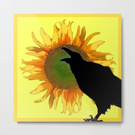BLACK CROW-RAVEN YELLOW SUNFLOWER FLORAL ART Metal Print