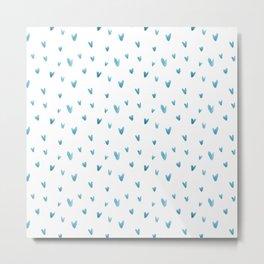 Blush blue modern watercolor abstract geometrical V pattern Metal Print