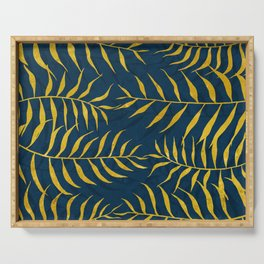 Golden Palm tree blue Serving Tray