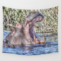 hippo Wall Tapestries featuring Painted Hippo by MehrFarbeimLeben