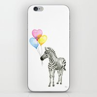 Zebra Watercolor With Heart Shaped Balloons Whimsical Baby Animals iPhone & iPod Skin