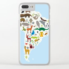 South America sloth anteater toucan lama bat fur seal armadillo boa manatee monkey dolphin Clear iPhone Case