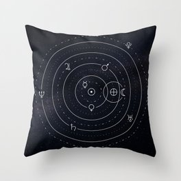 Planets symbols solar system Throw Pillow