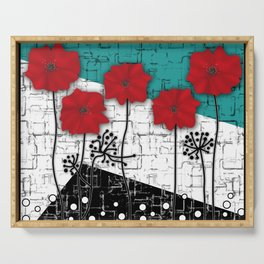 Applique. Poppies on turquoise black white background . Serving Tray