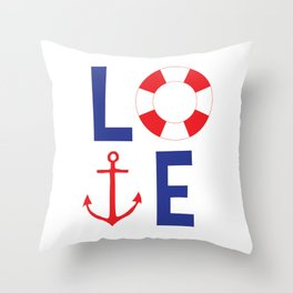 LOVE nautical red, white and blue - Anchor - Life Savor Throw Pillow