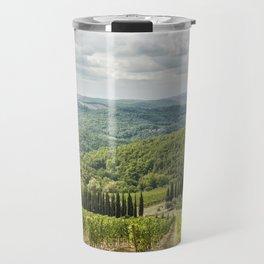 Vineyards landscapes in the morning in Chianti Travel Mug